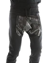 Solamode - Pantalon Sarouel Effet Cuir - Gangster Unit - Malboro - Unisexe - Noir