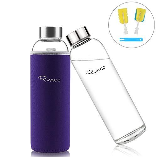 RYACO Glasflasche Trinkflasche Classic Tragbare 550ml BPA-frei für unterwegs Sportflasche Glas Wasserflasche zum Mitnehmen von kalten Heiß Getränken mit Neopren Tasche und Schwammbürste (Lila)