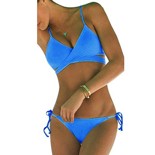 Damen Sport Freizeit Wassersport Schwimmen Push-up Bikini Sets Bademode Swimwear (S, Blau)