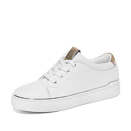 Damen Klassic Skateboard-Schuhe mit Schnürsenkel Flache Leicht Gummi Sohle Low-Top Sneaker Weiß ZfXk6R03R