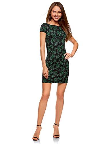 oodji Ultra Damen Jerseykleid mit Druck, Schwarz, DE 34 / EU 36 / XS (Neue Sandalen Damen Hübsche Schwarze)