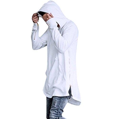 West See Herren Hip Hop Lange Sweatshirts Reißverschluss Jacke Hoodies mit Kapuze Pullover Langarmshirts (EU S(Herstellergrößer M), Weiß) (Hoodies Hip Hop)