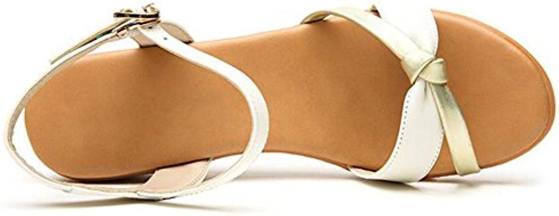 XIAOLIN Sandalias de las mujeres del talón del pendiente del bordado étnico suave del verano (tamaño opcional)...