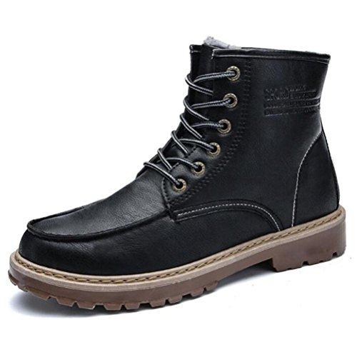 ow Heel Martin Stiefel Herbst Und Winter Rutschfeste Lederstiefel Hohe Hilfe Klassische Plus Kaschmir Werkzeug Schuhe Schnüren Schuhe Größe , black , 40 (Plus Größe Gehen Gehen Stiefel)