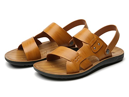 Icegrey Herren Strand Sandalen Slide Geschlossene Freizeit Sommer Hausschuhe Outdoor Pantolette Gelb