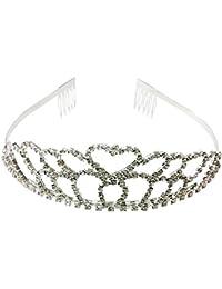 TOOGOO(R) Partido nupcial de la boda de dama de honor del corazon de cristal rhinestone venda de la corona de la tiara
