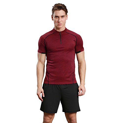 Jiayiqi Männer Kontrast Farbe Tees Schnell Trocknende Outdoor Wandern Reißverschluss T-Shirts Burgund