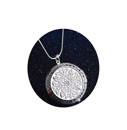 AmDxD Bilder Medaillon Zum öffnen mit Kette Runde Blume Damen Herren Hlaksette mit Anhänger Silber