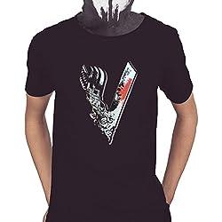 Acokaia Camiseta Vikingos de Hombre Color Negro (XL)