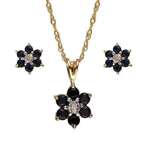 Ivy Gems - Parure collana + orecchini in oro giallo 9 ct con zaffiro e diamante, con catenina da 46 cm