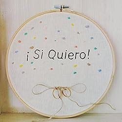 """Bastidor alianzas boda bordado con """"Si quiero"""" 24 cm"""