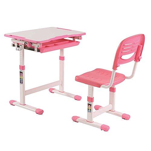 Pharao24 Höhenverstellbarer Schülerschreibtisch und Stuhl in Rosa Weiß (2-teilig)