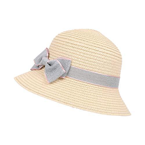 ZXPzZ Strandprinzessin Strohhut Breiter Krempe Bowknot Verstellbar Verpackbar Sonnenhut Sonnenhut Sommerhut (Color : Beige)