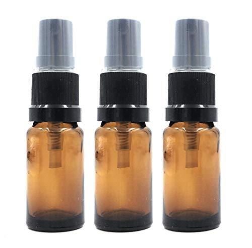 Bouteille Verre Ambre 10ml avec Pulvérisateur Noir / Spray x 3