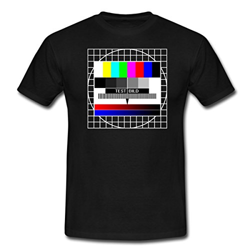 Spreadshirt Analoges Fernsehtestbild TV Testbild Männer T-Shirt, S, Schwarz
