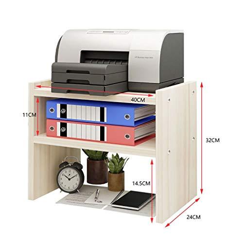 Holz Drucker Maschine Stehen Regal, 2-Schichten Einstellbare Desktop Storage Rack Organizer Für Home Office (Weiß Ahorn Größe: 70 * 38 * 83 Cm) (Size : Medium) (2 Regal-drucker Stehen)