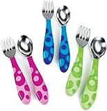 Munchkin Toddler Fork & Spoon Set 12 Months BPA Free (Pink)