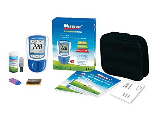 Mission 3 in 1, Misuratore di Trigliceridi, Colesterolo Totale, LDL e HDL, fornito con 5 lancette di sicurezza, 2 dispositivi di controllo, borsa trasportabile e manuale in Inglese e Italiano