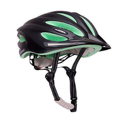 HUDORA Fahrrad-Helm Basalt Damen Herren, Fahrrad-Helm Rad-Helm Gr. 52-55, schwarz/grün (Helm, Fahrrad Damen)