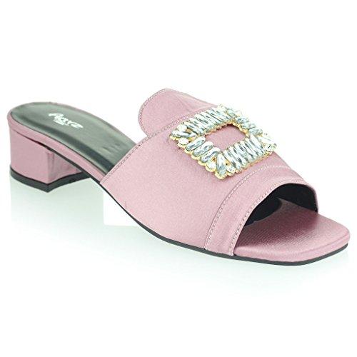 Noite Deslizamento Diamante Detalhe Festa Rosa À Broche Calcanhar Bloco Tamanho Senhoras Mulheres Sandálias Sapatos U6qrwzU