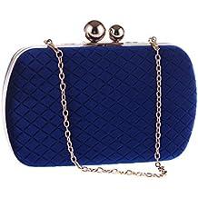 da86a2cd4f6e6 Limeinimukete Clutches Banketttaschen Ketten Diagonale Damen Handtaschen  Flanell Strass Ringe Abendtaschen blau