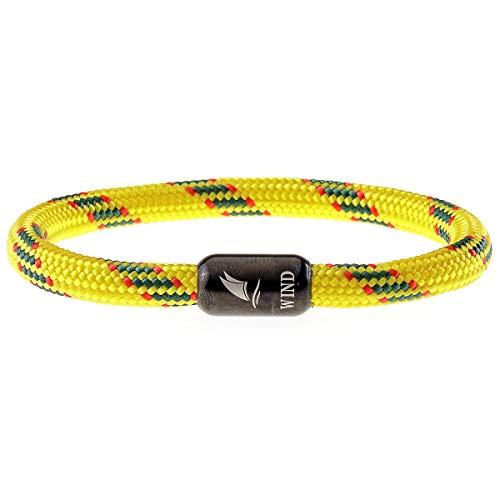 Imagen de wind passion pulsera magnética amarilla de cuerda nautica trenzada para hombre y mujer, tall x large