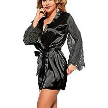 marysgift Ladies Kimono Dressing Gown Silk Satin Lace Robe for Women, Kimono Bridesmaid Robe for Wedding Party Short Sleepwear Lingerie Black Plus Size XXXXXL UK 18 20