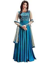 [Sponsored]Fashion Basket Designer Fancy Silk Sky Blue Anarkali Gown Salwar Suit