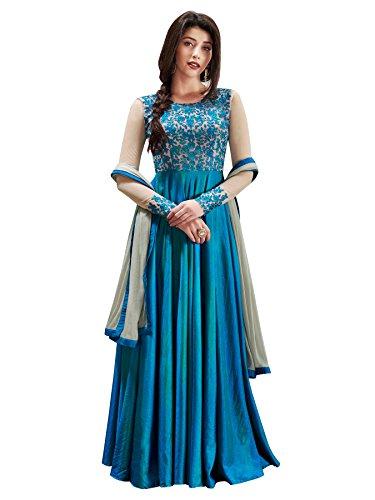 Fashion Basket Designer Fancy Silk Sky Blue Anarkali Gown Salwar Suit