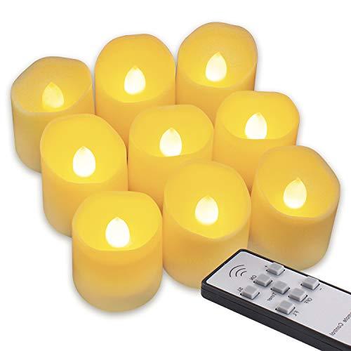 Miafamily 9 LED Flammenlose Kerzen LED Kerzen mit Fernbedienung Weihnachten LED Teelichter Elektrische Teelichter Kerzen für Halloween, Weihnachten, Party, Bar, Hochze -Beige