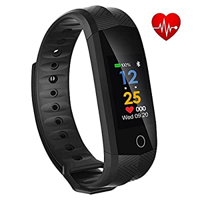 Fitness Trackers, Witmoving New Fitness Watch Waterproof Sports Watch Wristband with Heart Rate Monitor Pedometer Color OLED Touchscreen for iPhone Samsung IOS Android Smartphones (Black) by Witmoving