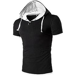 Tefamore Camiseta Sudadera Con Capucha De Los Hombre De Manga Corta De Moda De Verano (XXL, Blanco 2(Como imagen mostrada))