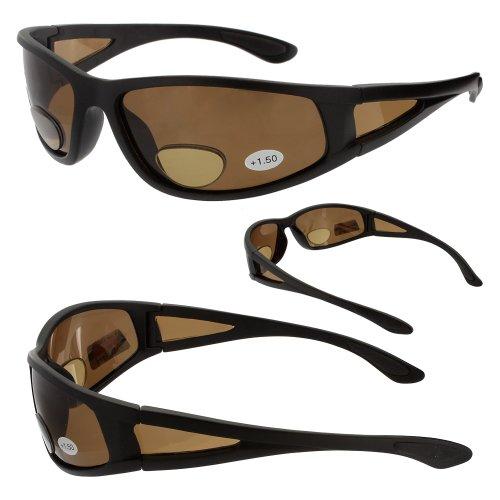 Polarized Bifocals Ragged Bronze Polarisiert Bifokale Sonnenbrille Lupe Leser (2,00, Braun)