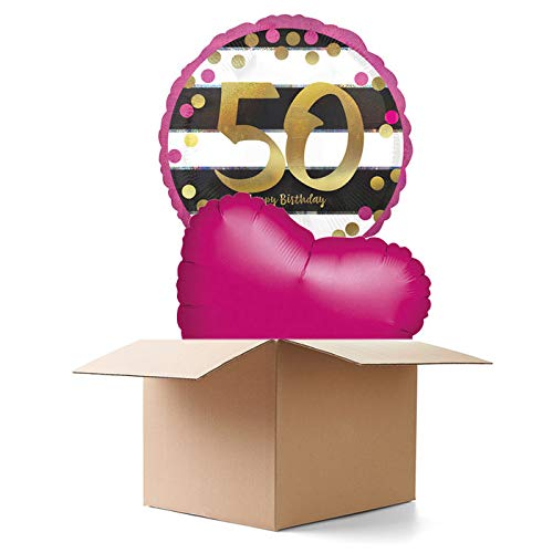PARTY DISCOUNT® Ballongrüsse B-Day Milestone 50th, 2 Ballons