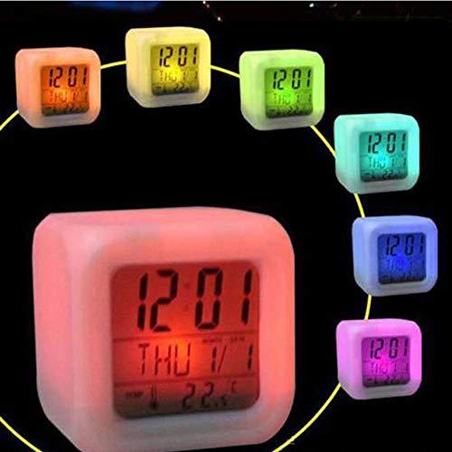 Alaso - Despertador en línea, Despertador Mate, Despertador de Viaje, 7 Colores, luz de Noche, despertadores Digitales, Cubo LCD LED de Noche Brillantes, Reloj de Noche para niños