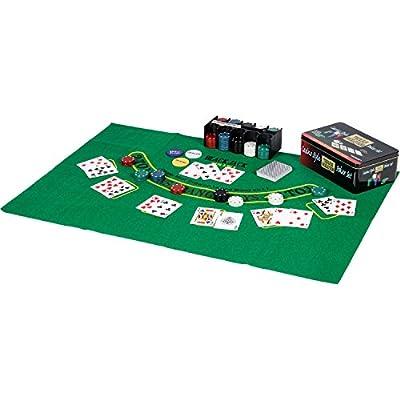 Jeu de poker / blackjack dans une boîte en métal, jetons de poker 200 pièces, 2 jeux de cartes, bouton de revendeur, petit blind, Big Blind, tapis de jeu