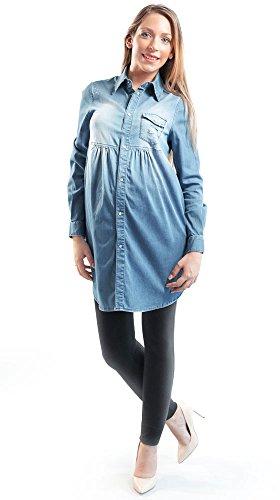 new style 4f86a c9e61 MAMAJEANS Camicia Jeans Donna Premaman, Manica Lunga Vintage - Made in  Italy (XS, Denim Chiaro)