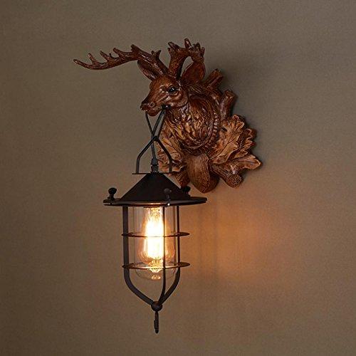 Nordic Rétro Style Industriel En Bois Mur Lampe Creative Deer Head Personnalité Mur Lampe Café Restaurant Bar LOFT Éclairage Décoratif, Lumière E27 * 1, Taille 16 * 50 cm