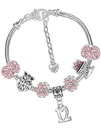 Mädchen-Set mit Charm-Armband, Karte und Geschenkbox, für Mädchen, Alter 3–13 Jahre, Rosa