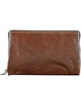 Echtes Leder Unisex Clutch Farbe Braun - Italienische Lederwaren - Herrentasche