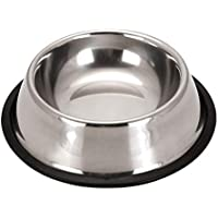 Topdo Cuencos para Perros,Cuencos para Mascotas de Acero Inoxidable Alimento para Mascotas alimentador de Agua para Perros Cachorros Gatos,Color Plata 18 * 14 * 5.5cm