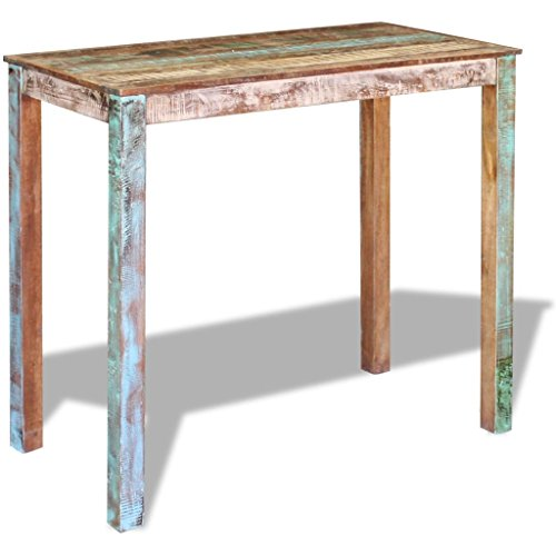 VidaXL Mesa alta bar madera maciza reciclada 115x60x107