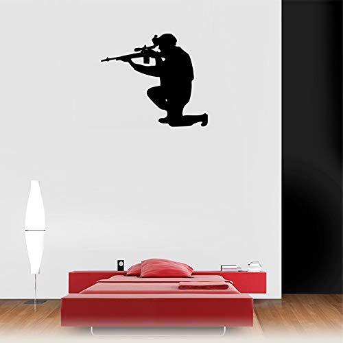 jiuyaomai Army Forces Man Erwachsene Gun Wandaufkleber Für Kindergarten Kinder Jungen Zimmer Tapete Kunst Dekor Wandtattoos Schlafzimmer Hobby Deco sodt Rosa 46X42 cm