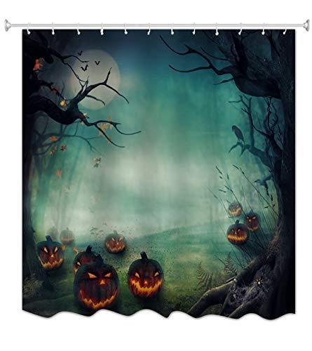 cht Kürbisse Spuk Baum Halloween Thema Druck Heim Dekoration Wasserdichte Dusche Vorhang Tischdecke 180X180 cm / 72X72 Zoll ()
