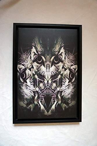 Digitales Bild auf Leinwand, schwarz gerahmt, Titel: Katzenkautz
