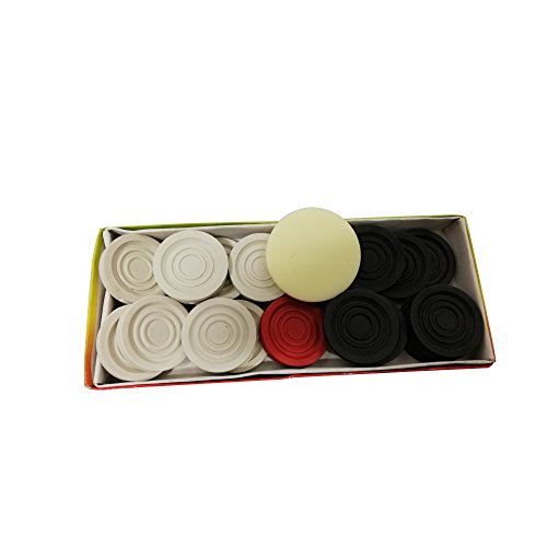 tryviz Carrom Coin made of plastic Complete Set of 24 + 1 Premium Striker (Black and Cream)  available at amazon for Rs.225