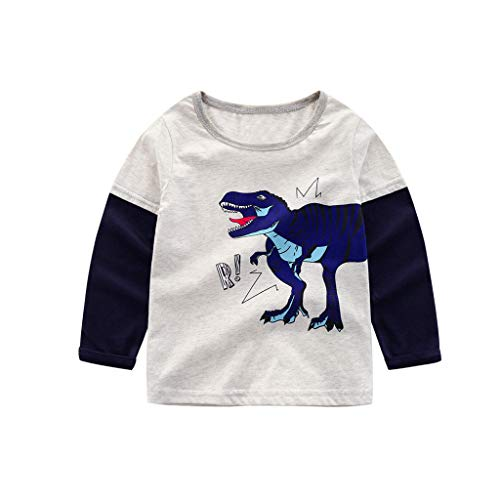 low cost 8719b 03874 Topgrowth T shirt Bambino Maglietta A Maniche Lunghe Ragazzo Ragazza  Cartone Animato Stampa di Dinosauri Patchwork Camicetta Top