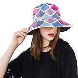 Acuarela Sirena Escalas de Pescado Verano Moda Algodón Pesca Sol Bucket Sombreros para Niños Adolescentes Mujeres y Hombres con Personalizar Empaquetador de Pescador Empaquetado para Viajes