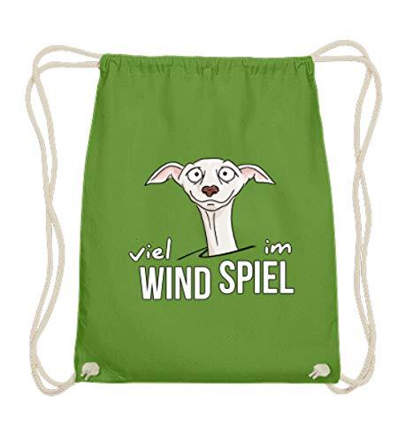 Shirtee Viel Wind im Spiel - Windhund italienisches Windspiel für Windhund-Besitzer und Fans - Baumwoll Gymsac -37cm-46cm-LimettenGrün