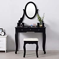 Panana Dressing Table, Modern Makeup Table 5-Drawer Vanity Dresser Set With Stool & Oval Mirror Bedroom Dresser,Crystal or Iron Handle Shipped Randomly (Black)
